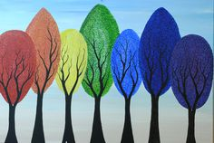 Rainbow Trees - Acrylic on Canvas painting by Kirsten Bailey