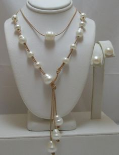 Amazing Floating Genuine Baroque White Pearls Versatile by Horae