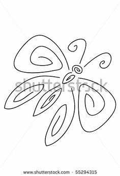 Simple Butterfly Contour Stock Vector 55294315 : Shutterstock