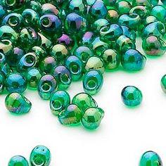 Seed bead, Miyuki, glass, clear rainbow green, (DP179), 4x3.4mm fringe. Sold per pkg of 10 grams.