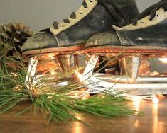 Vintage ice hockey skates perfect for holiday decor and crafting. Distressed black leather with off white trim. Vintage condition with lots of character. Vintage Leather, Black Leather, Dry Goods, White Trim, Skates, Hiking Boots, Ice, Holiday Decor, Black Patent Leather