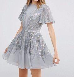 ASOS Silver Sparkle Skater Mini Evening Dress in Grey UK 12/EU 40/US 8