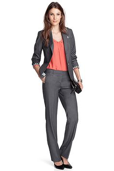gray business outfit.I would change the coral shirt to a white or black
