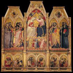 SPINELLO ARETINO - Coronation of the Virgin - 1401 - Tempera and gold on panel, 275 x 278 cm - Galeria dell'academia - Firenze  SPINELLO di Luca Spinelli, noto come SPINELLO ARETINO (Arezzo, ca. 1350 – 14 marzo 1410)    #TuscanyAgriturismoGiratola