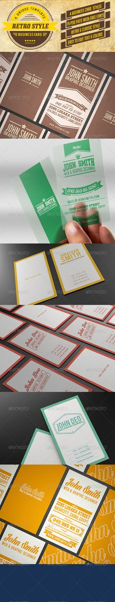 Bundle - Rotro Business Card — PSD Template #retro business card • Click here to download : https://graphicriver.net/item/bundle-rotro-business-card/6156890?ref=pxcr