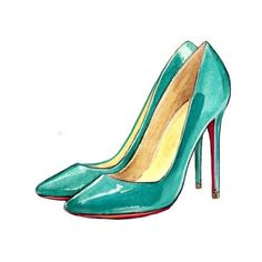 Christian Louboutin - pigalle patent leather, turquoise, blue, pumps Watercolor Fashion Illustration Art, Fashion Art ❤