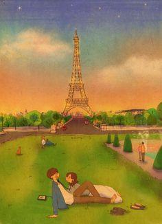 'Eiffel Tower, Paris, France' Cotton Tote Bag by Love Cartoon Couple, Cute Couple Comics, Couples Comics, Cute Couple Art, Anime Couples, Cute Couples, Puuung Love Is, Cute Couple Drawings, Cute Love Stories