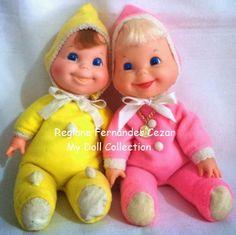 #Boneco #Feijãozinho Estrela década de 80, (85/86) (rosa), #Boneco #Feijãozinho 1974, (amarelo)