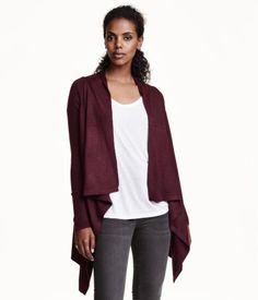 Fine-knit, wool blend, open cardigan in a deep burgundy melange. Draped fit. | Warm in H&M