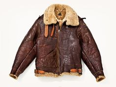 Vintage schott leather faux fur flight military bomber jacket size ...