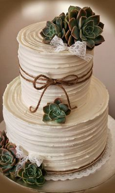 Wedding Food 8 Wedding Cakes Worthy Of Your Big Day - COWGIRL Magazine - I don't know about the rest of you cowgirls, but I am a foodie at heart! As such, deciding between wedding cakes is one of the. Wedding Cake Rustic, Rustic Cake, Vintage Wedding Cakes, Rustic Cupcake Stands, Textured Wedding Cakes, Vintage Weddings, Succulent Wedding Cakes, Succulent Cakes, Bouquet Wedding