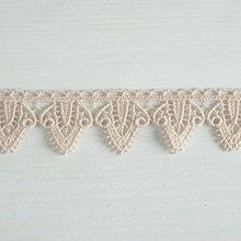 #Organic #lace #trim 33 mm wide natural ecru cotton colour undyed, fancy leaf drop www.lancasterandcornish.com #bridal #wedding #trim #lampshade #dressmaking #sewing #millinery #lingerie