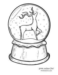 Christmas snow globe with reindeer – snowglobe Christmas Tree Coloring Page, Christmas Coloring Sheets, Printable Christmas Coloring Pages, Christmas Doodles, Christmas Drawing, Christmas Snow Globes, Christmas Colors, Christmas Art, Colouring Pages