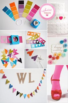 Rainbow decorations, decorating with paint swatches