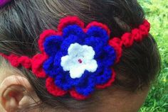 Headband. Bel/USA colors.  See all my work at Facebook: https://www.facebook.com/media/set/?set=a.10202292533615782.1073741839.1264467887&type=1&l=8dd6dd276c