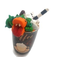 Fran Pumpkin Spice Latte Monster-Coffee Monster-Man Eating Plant-Horror Art-Spooky Art-Halloween Gift-Barista Gift-Handmade Gift-Scary Plant Fran Pumpkin Spice L Cow Logo, Christmas Coal, Pumpkin Spice Latte, Horror Art, Halloween Gifts, Christmas Shopping, Etsy Seller, Spices, Barista