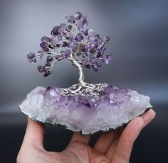 Amethyst gemstone tree with silver plated copper wire and mounted on an amethyst crystal cluster. Handmade by Twysted Roots Wire Art Sculpture, Tree Sculpture, Wire Sculptures, Abstract Sculpture, Bronze Sculpture, Wire Wrapped Jewelry, Wire Jewelry, Crystal Tree, Crystal Cluster