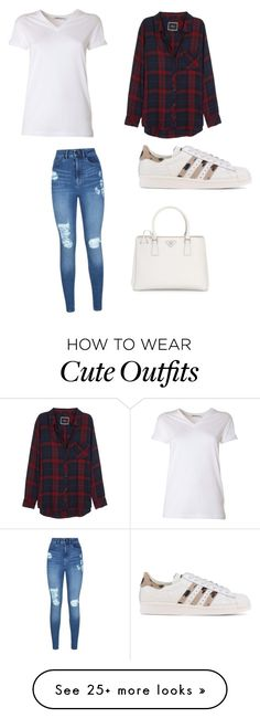 """""""Cute Casual Day Outfit"""" by lsantana13 on Polyvore featuring T By Alexander Wang, Rails, Lipsy, Prada and adidas Originals"""
