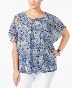 Ny Collection Plus Size Printed Poncho Top - Blue 1X