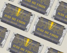 Gray + Gold + Yellow Art Deco Wedding Theme Ideas - Custom Candy Wrappers for Gatsby Candy Buffet - Choose your wedding colors!