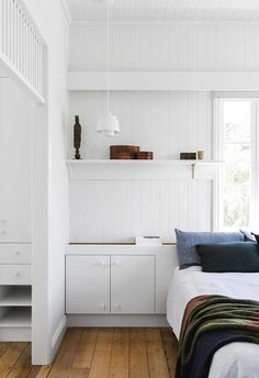 New Farm Cottage by Brisbane Interior Designer Georgia Cannon in collaboration with Vokes and Peters, Photographer Cathy Schusler Timber Panelling, Timber Flooring, Pictures Above Bed, Kids Bed Frames, New Farm, Farm Cottage, Queenslander, Upholstered Beds, Kid Beds