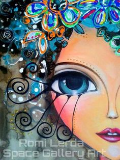 Romi Lerda Arte Pop, Eye Art, Whimsical Art, Rock Art, Mixed Media Art, Female Art, Art Girl, Art Drawings, Abstract Art