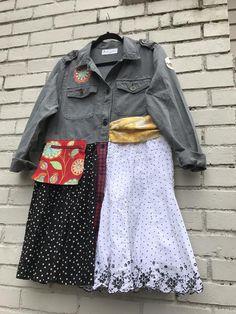 The Lena Jacket/Dress: Upcycled sustainable clothing art jacket funky size medium pocket patches cumberbund Melbury Road Diy Clothes Jackets, Denim Duster, Teen Crop Tops, Diy Clothes Videos, Shirt Refashion, Altering Clothes, Sustainable Clothing, Vintage Fabrics, Boho Outfits