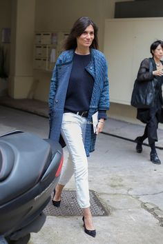 Emmanuelle Alt // Blue Isabel Marant coat, white jeans, black court shoes