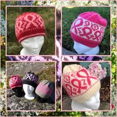 Sløyfer i rosa, lue My Design, Winter Hats, Crochet Hats, Knitting, Sewing, Pattern, Fashion, Pink, Cold