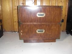 Vintage Campaign Nightstand $75 - Waterford http://furnishly.com/catalog/product/view/id/1385/s/vintage-campaign-nightstand/