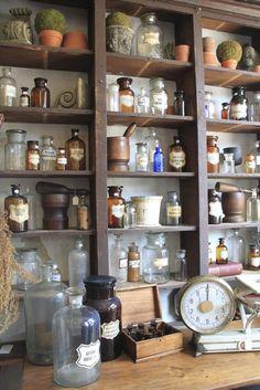 old pharmacy bottles, shelving, vintage, antique: