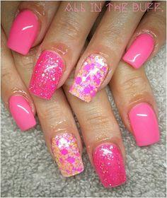 @colourmeprettygelpolish ~ Babealicious & Flirty Flamingo  @glitterblendz ~ Poptastic  *note- client preference thick nails * #J4URN #AITB #allinthebuff #buffitgood #nailporn #nailnerd #gelnotpolish #nails #nailinspo #nails2inspire #dopenails #pinknails #glitterblendz #colourmepretty #cmp #glitternails #gelpolish