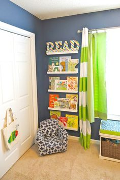 Library Wall with Toddler Reading Chair - such a cozy nook!