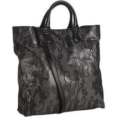 Valentino Black Lace Nylon Convertible Shopping Tote