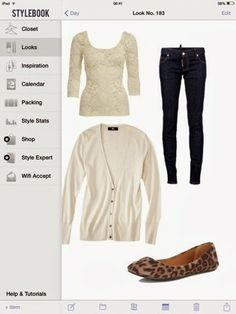What to wear in a long weekend: dark skinny jeans, nude lace top, beige cardigan and animal print flats.