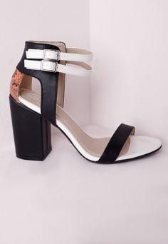 Contrast Block Heel Sandals Black