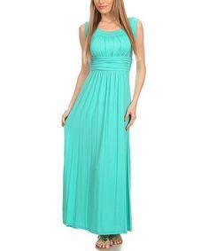Love this Aqua Empire-Waist Sleeveless Maxi Dress on #zulily! #zulilyfinds