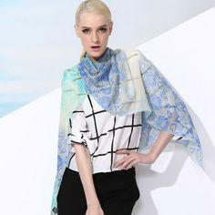 Stylish Floral Print Long 100% Silk Scarf