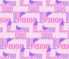 Personalised Name Design - Butterfly Pink and Purple fabric by shelleymade on Spoonflower - custom fabric