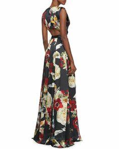 T7NPN Alice + Olivia Triss Floral-Print Sleeveless Maxi Dress