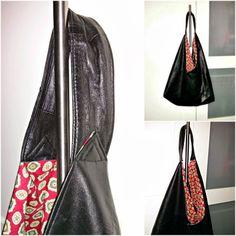 Origami Market Bag aus Lederrock / Origami Market Bag made from leather skirt / Upcycling