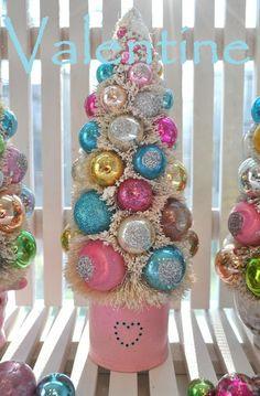 Holiday Sparkle: Be Mine Bottle Brush Trees Valentine