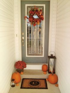 My front porch decorated for fall