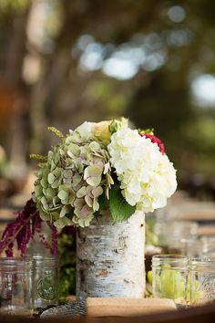 #hydrangea, #birch, #centerpiece  Photography: Marcel and Meher Photography - marcelsieglephoto.com  Read More: http://www.stylemepretty.com/2013/09/13/big-sur-wedding-from-marcel-and-meher-photography/