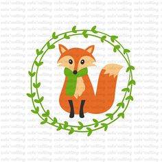 Fox svg Autumn svg forest animal svg fall svg floral