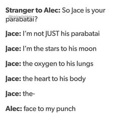 Some hilarious Jalec parabatai banter Alec And Jace, Clary And Jace, Mortal Instruments Funny, Shadowhunters The Mortal Instruments, Shadowhunters Malec, Clace, Jace Lightwood, Nos4a2, Shadowhunter Academy