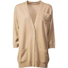 Long Cardigan ($2,035) ❤ liked on Polyvore featuring tops, cardigans, long sleeve tops, v neck cardigan, long v neck cardigan, long sleeve v neck cardigan and beige cardigan