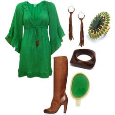 green dress brown boots perfect for st Patrick's day