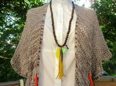 Green Sandalwood Tassel Mala Necklace Handmade by TruffleMint, $70.00