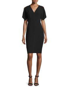 Lourdes Short-Sleeve Sheath Dress, Black by Elie Tahari at Neiman Marcus.